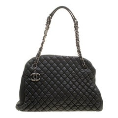 Chanel Black Quilted Leather Large New Bubble Just Mademoiselle Bowling Bag