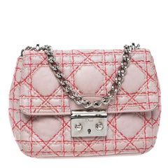 Dior Blush Pink Leather Miss Dior Mini Sequin Embellished Chain Pouch