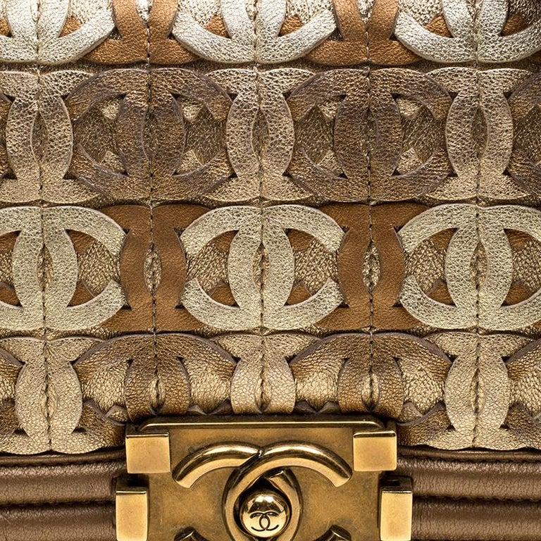 2d7f8b32e4f449 Chanel Bronze Leather CC Cutout Small Boy Flap Bag In Good Condition For  Sale In Dubai