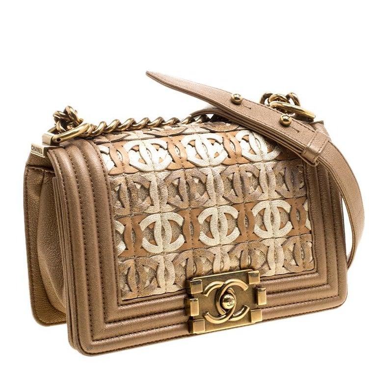 72690fddd6fe7f Women's Chanel Bronze Leather CC Cutout Small Boy Flap Bag For Sale