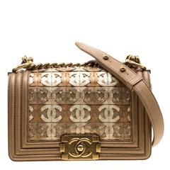Chanel Bronze Leather CC Cutout Small Boy Flap Bag