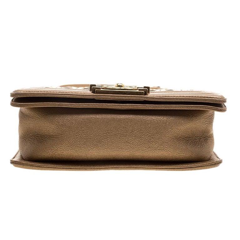 212d5ce45c9c68 Chanel Bronze Leather CC Cutout Small Boy Flap Bag For Sale 5