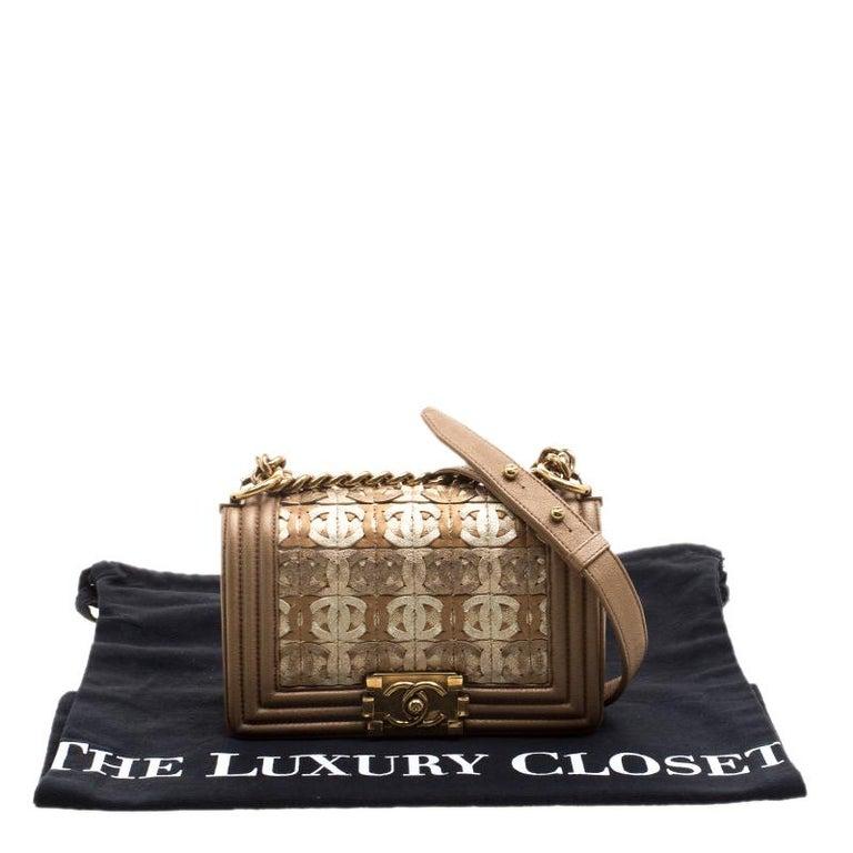 970dda9d46ad5f Chanel Bronze Leather CC Cutout Small Boy Flap Bag For Sale 7