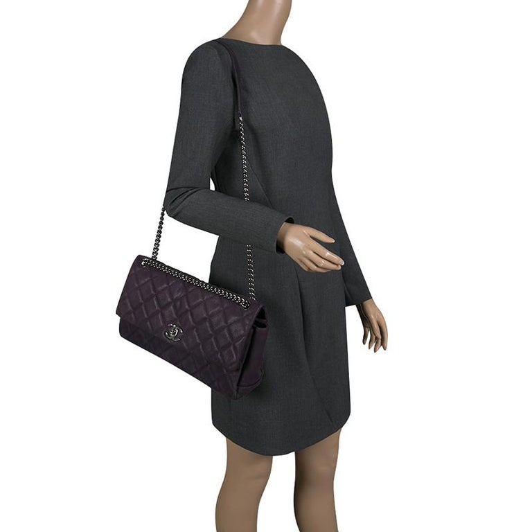 e2dee52f7ad2f2 Black Chanel Matte Purple Quilted Caviar Leather Medium Lady Pearly Flap Bag  For Sale