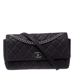 Chanel Matte Purple Quilted Caviar Leather Medium Lady Pearly Flap Bag
