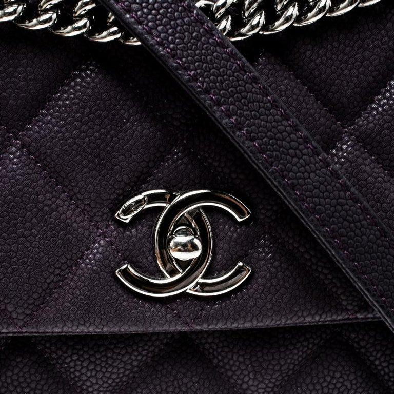 b01ff09e04319d Chanel Matte Purple Quilted Caviar Leather Medium Lady Pearly Flap Bag For  Sale 4