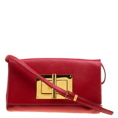 Tom Ford Red Leather Large East West Natalia Shoulder Bag