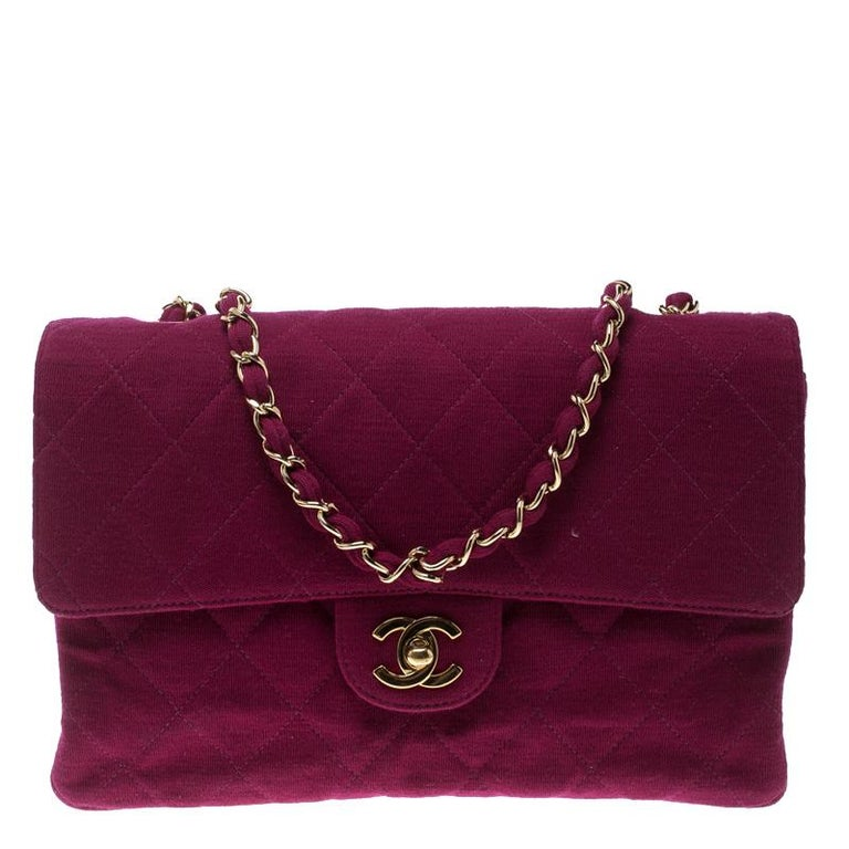 71957d5f84d7 Chanel Magenta Quilted Jersey Medium Classic Single Flap Bag at 1stdibs