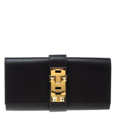 Hermes Cacao Veau Tadelakt Leather Medor Clutch