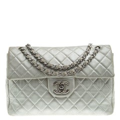Chanel Grey Quilted Iridescent Leather Maxi Classic Single Flap Bag
