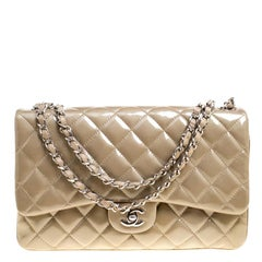 Chanel Khaki Quilted Patent Leather Jumbo Classic 3 Flap Bag