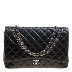 Chanel Black Quilted Leather Maxi Classic Single Flap Bag