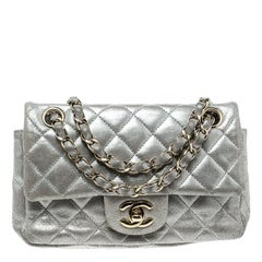 Chanel Silver Quilted Leather New Mini Classic Single Flap Bag