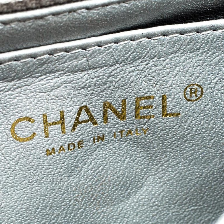 2531afc461e665 Chanel Silver Quilted Leather New Mini Classic Single Flap Bag For Sale 4