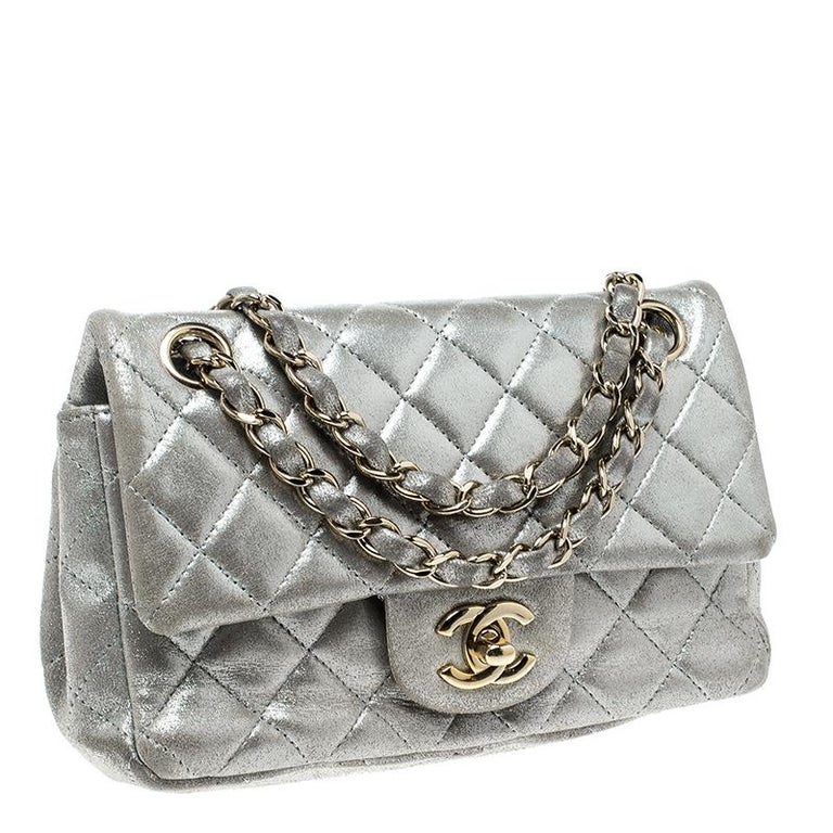 cd5cd5c24c320e Chanel Silver Quilted Leather New Mini Classic Single Flap Bag For Sale 8