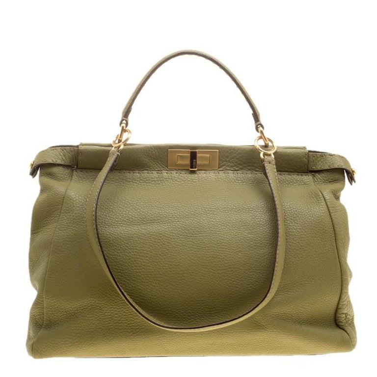 0f553e1cf3 Fendi Green Selleria Leather Large Peekaboo Top Handle Bag For Sale ...