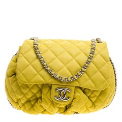 Chanel Yellow Quilted Leather Chain Around Shoulder Bag