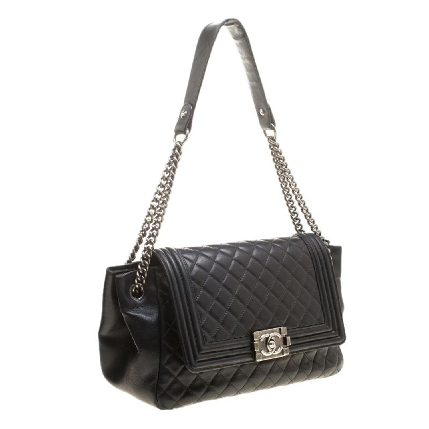 9d905adc25dc Chanel Black Quilted Leather Boy Accordion Flap Bag 100% AUTHENTIC at  1stdibs
