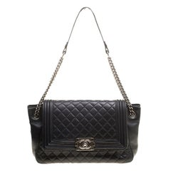 Chanel Black Quilted Leather Boy Accordion Flap Bag 100% AUTHENTIC