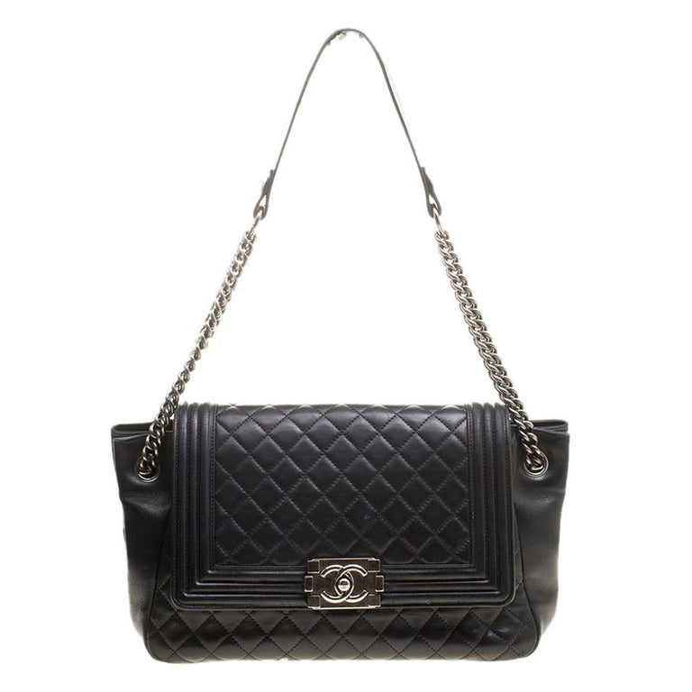 Chanel Black Quilted Leather Boy Accordion Flap Bag 100% AUTHENTIC For Sale 19c31347f3b80