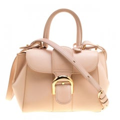 Delvaux Peach Leather Mini Le Brillant Top Handle Bag
