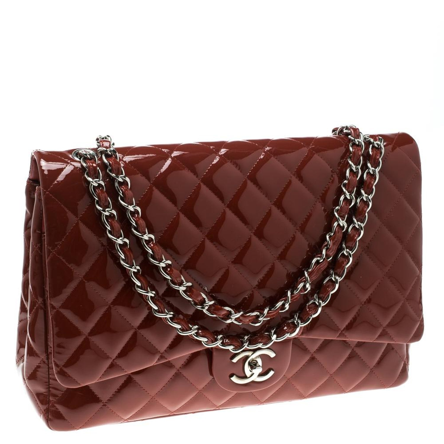4eb3ef67d0a1 Chanel Red Quilted Patent Leather Maxi Classic Double Flap Bag For Sale at  1stdibs