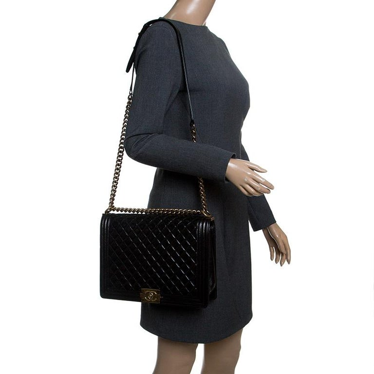 c9fe9e8131af Chanel Black Quilted Leather Large Boy Flap Bag In Good Condition For Sale  In Dubai,