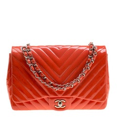 Chanel Coral Quilted Patent Leather Chevron Jumbo Classic Flap Bag