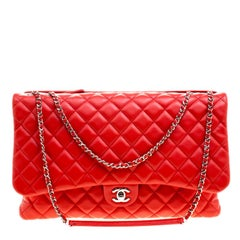 Chanel Red Quilted Leather Maxi 3 Classic Flap Bag