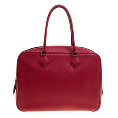Hermes Rouge Vif Clemence Leather Plume 32cm Bag