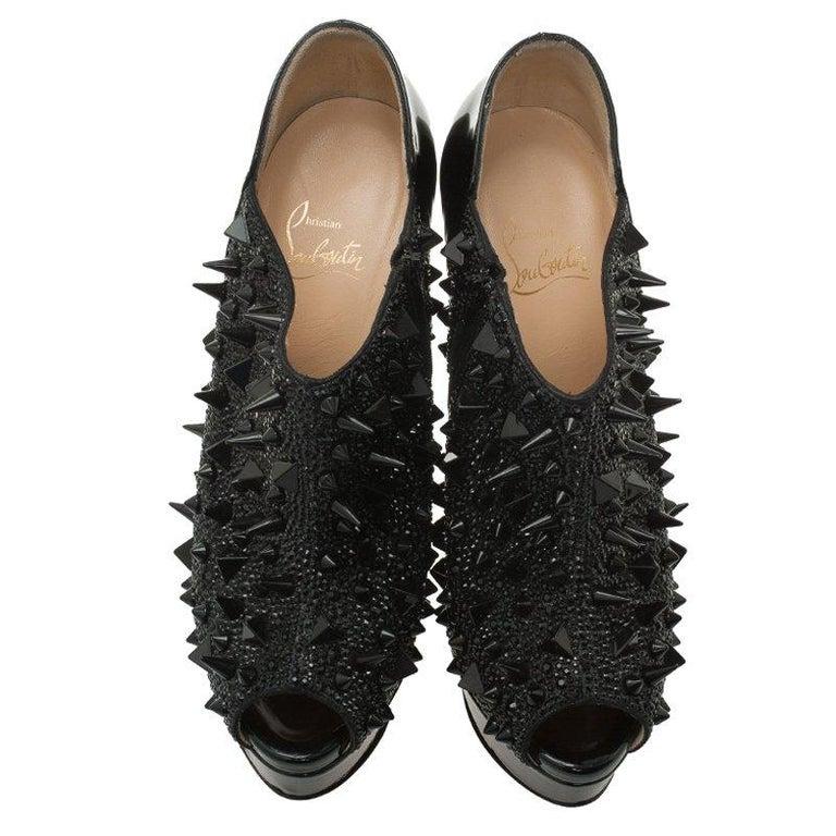 b9485c228a97 Christian Louboutin Black Patent Bridget s Back Spike Peep Toe Ankle ...