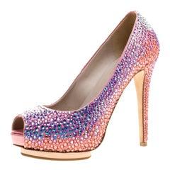 Le Silla Pink Satin and Crystal Embellishment Limited Edition Peep Toe Pumps Siz