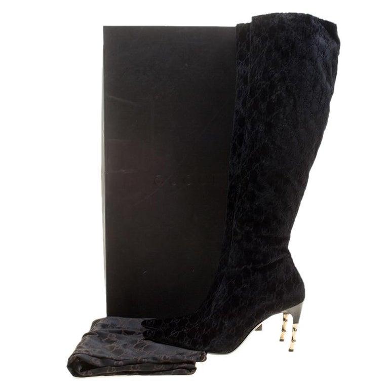5e7c2157d Gucci Black GG Velvet Bamboo Heel Knee High Boots Size 40 For Sale 4