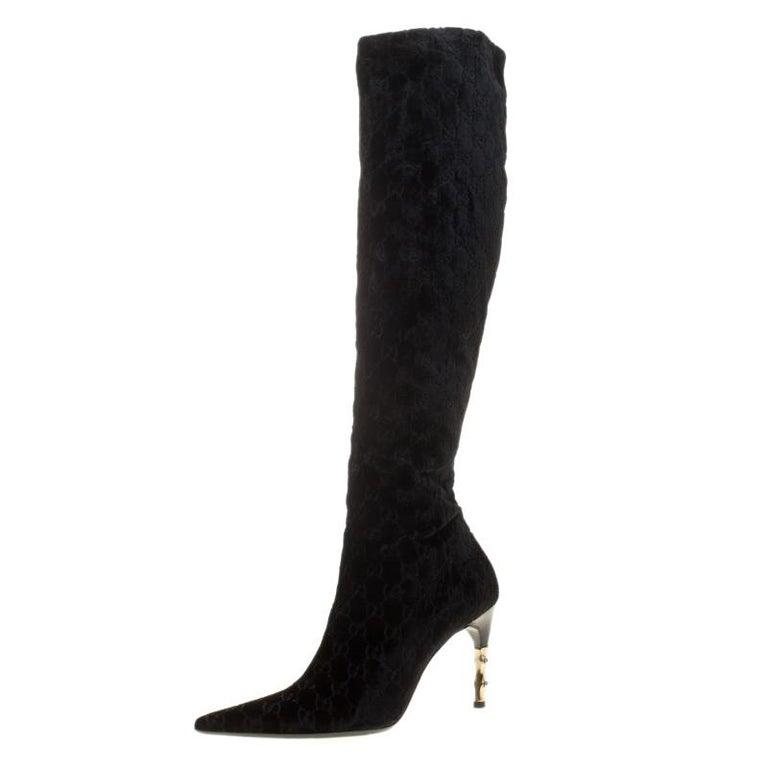 9289b52fdb7f Gucci Black GG Velvet Bamboo Heel Knee High Boots Size 40 at 1stdibs