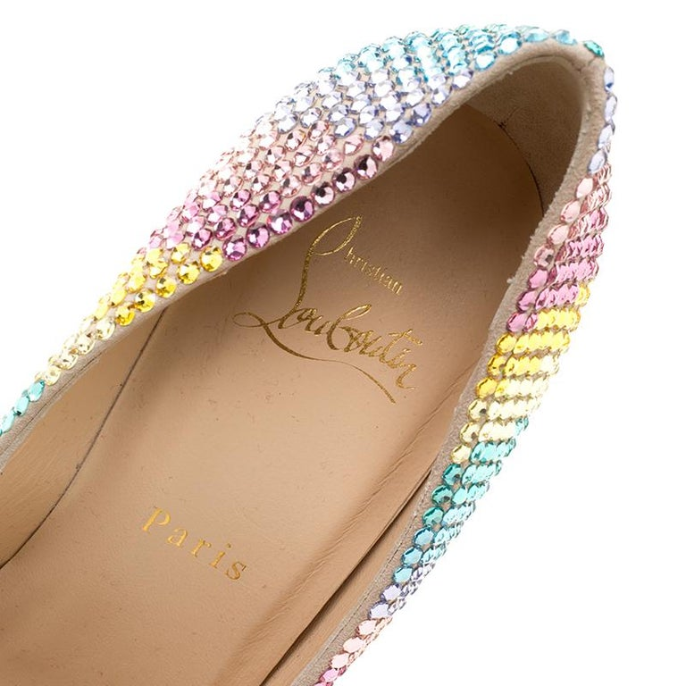 54d8e20a6ea4 Christian Louboutin Multicolor Crystal Embelllished Suede Rainbow Strass  Pointed For Sale 3