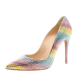 Christian Louboutin Multicolor Crystal Embelllished Suede Rainbow Strass Pointed