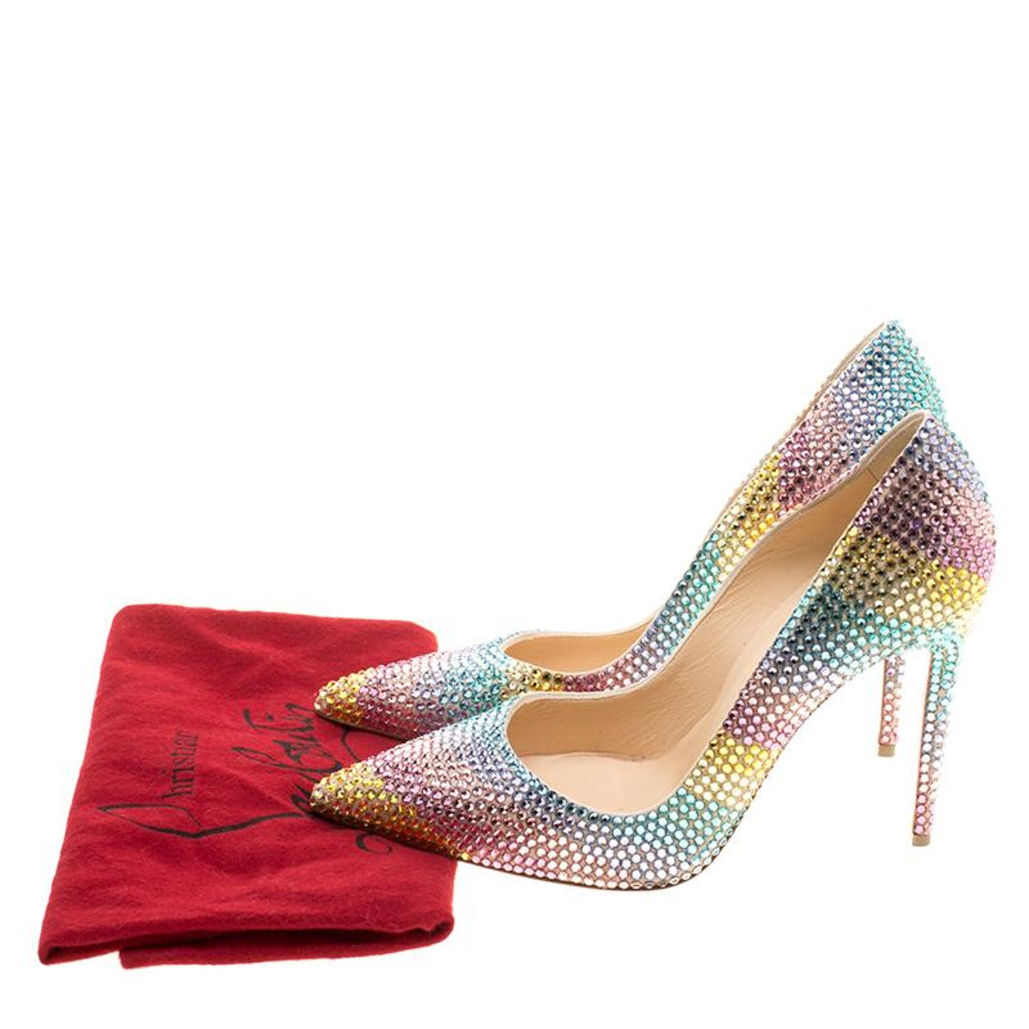 20b9e46b8d4d Christian Louboutin Multicolor Crystal Embelllished Suede Rainbow Strass  Pointed at 1stdibs