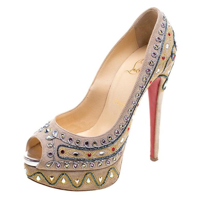 694c60d003e Christian Louboutin Light Beige Suede Embellishment Bollywood Peep Toe  Platform