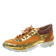 Chanel Orange Tweed and Holographic Leather Lace Up Sneakers Size 42