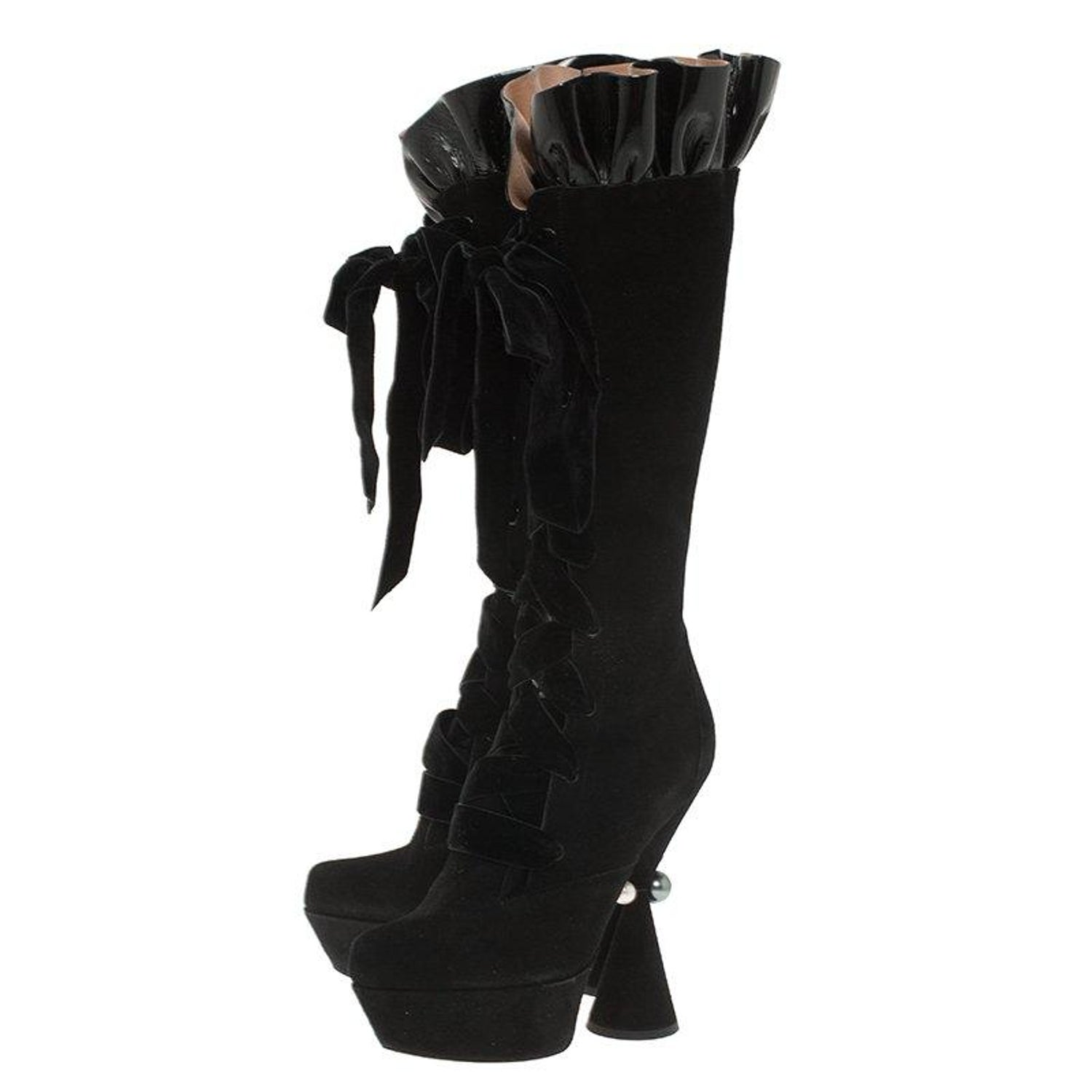 07dc3d00724 Louis Vuitton Black Suede and Patent Ruffle Cancan Velvet Lace Up Knee  Boots Siz at 1stdibs