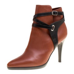 Hermes Brown/Black Leather Cross Strap Pointed Toe Ankle Boots Size 37.5