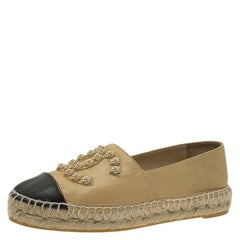 Chanel Beige and Black Leather Camellia Studded Espadrilles Size 36