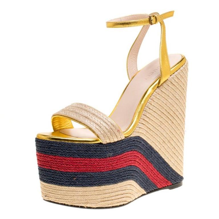 aeb174da369566 Gucci Metallic Gold Leather Web Platform Ankle Strap Espadrille Wedge  Sandals Si For Sale