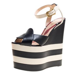 Gucci Navy Blue/White Leather Sally Ankle Strap Platform Wedge Sandals Size 37.5