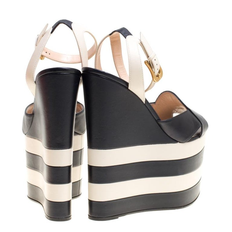 9e38bd07de4a Gucci Navy Blue White Leather Sally Ankle Strap Platform Wedge ...