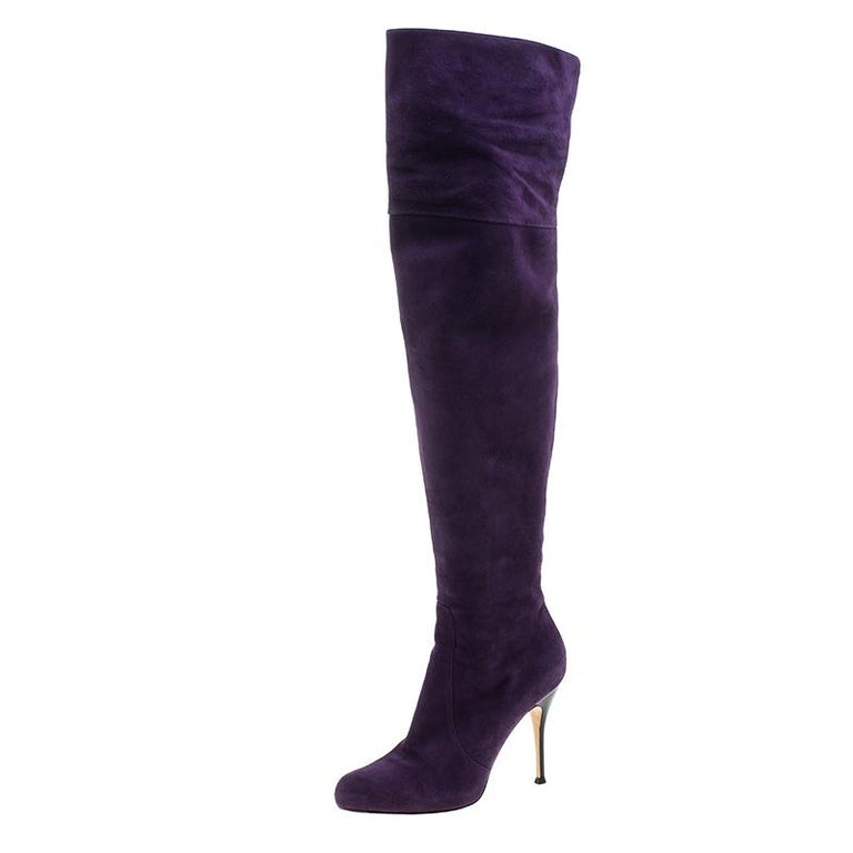 6b5441780f9 Gianvito Rossi Purple Suede Over the Knee Boots Size 40 at 1stdibs