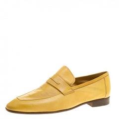 Berluti Yellow Leather Lorenzo Loafers Size 42.5