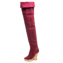 Chanel Red Fabric and Patent Leather Metallic Gold Brocade Wedge Thigh High Boot