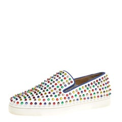 Christian Louboutin White Leather Roller Boat Multicolor Spiked Slip On Sneakers