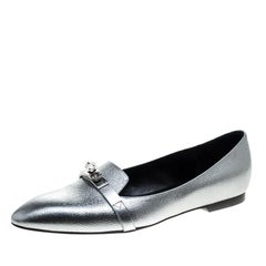 Hermes Metallic Silver Leather Pegase Mini Kelly Buckle Ballet Flats Size 38